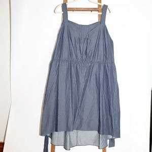 Blue Thick Strap Dress w/ Elastic Waist Band